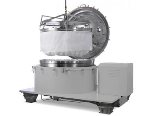 Vertical top discharge centrifuge