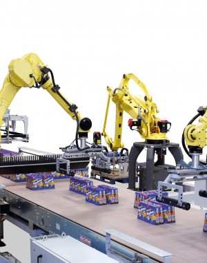 Robot palletizer for liquid containers