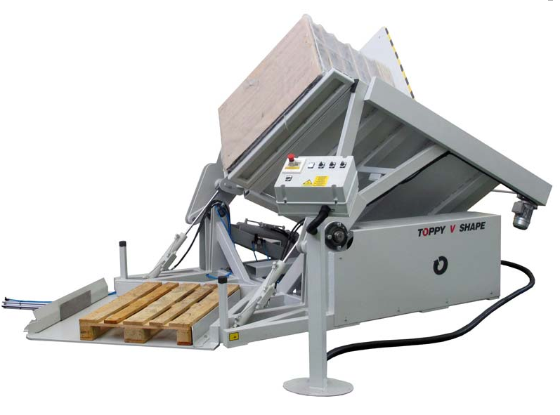 V-shaped pallet changer