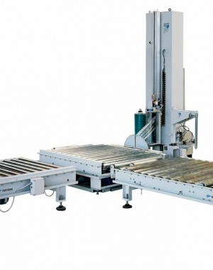 Automatic stretch wrapping machine for medium speed