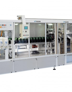 Packaging machine for preformed paper bags from 500 g to 5 kg.
