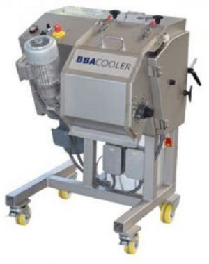 Drum cooler for laboratory hot melt processes