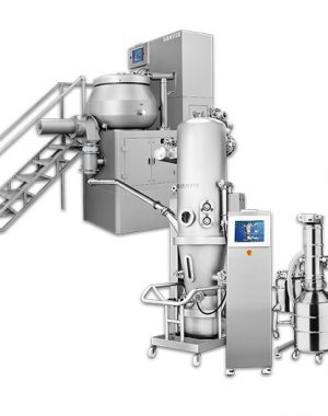 Granulation line of mixer and fluid bed dryer
