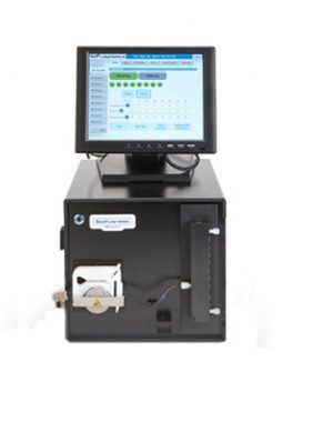 On-line sampling system for larger scale bioprocesses