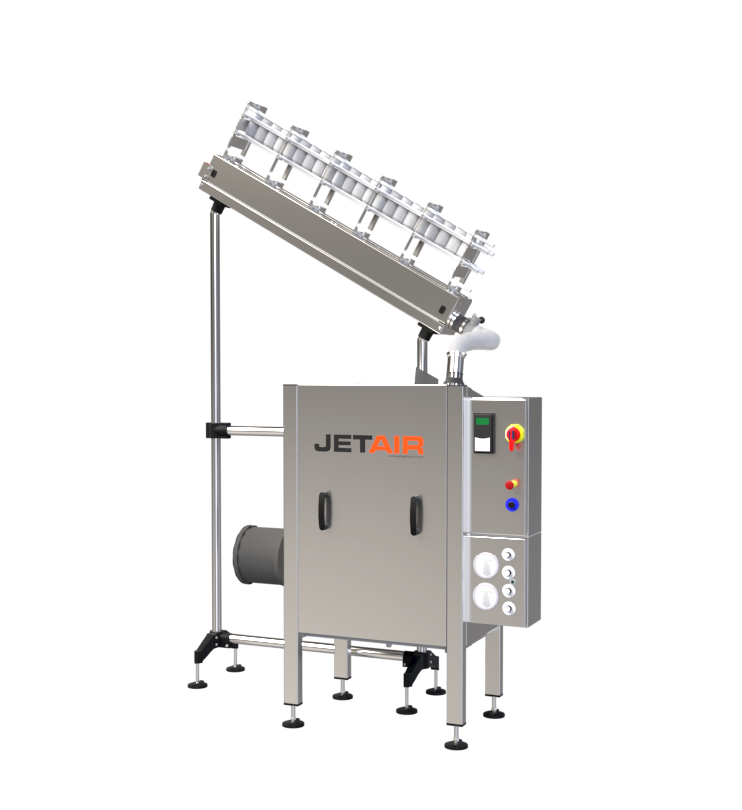 Air rinsing system for containers