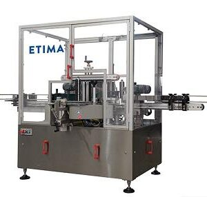 Self-adhesive linear labeling machine for bottles