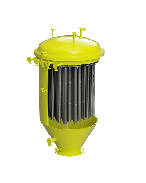 Self-cleaning filter for sulphur