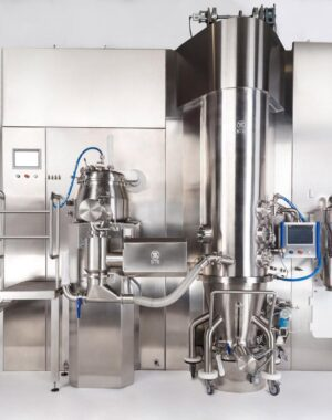 Granulation line for pharmaceutical solid dosage forms