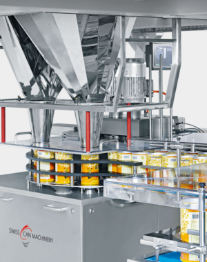 Filling and weight checking machine for peanut tins